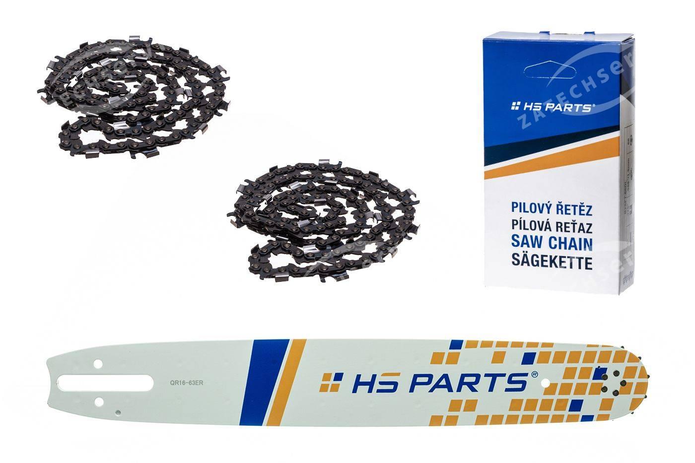 """HS PARTS Action Set - Führungsschiene 16"""" (40 cm) 3/8"""" .063"""" (1,6 mm) + 2 x Sägekette 60 Gl."""